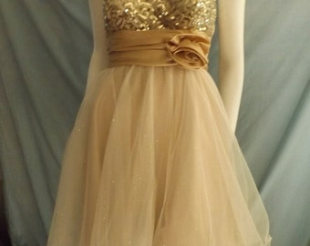 SALE! Gold Strapless Cocktail Dress