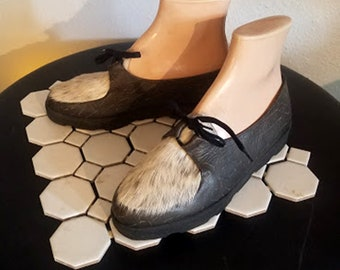 Vintage Xavier Danaud Furry French Leather Loafers