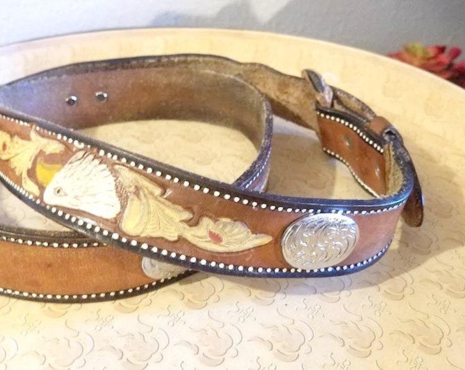 Vintage Tooled Leather Americana Concho Belt