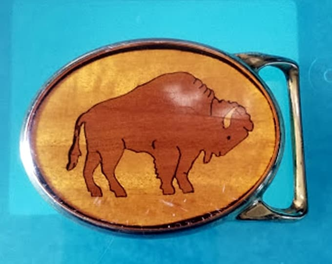 Vintage Von West 1970s Buffalo Inlaid Wood Belt Buckle
