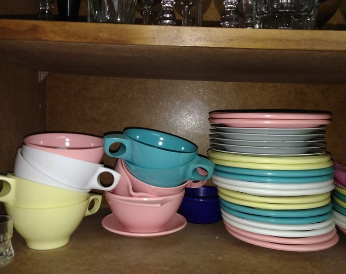 SALE! Boontonware Melmac Pastel Lot (45 piece) Setting for 8