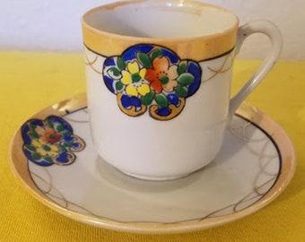 Vintage Lusterware Expresso Cup & Saucer Set-Japan