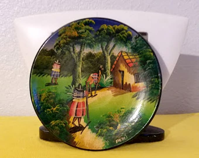 Rare Vintage Hand-Painted Peruvian Clay Souvenir Plate