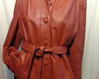 Vintage 80's Belted Leather Coat by The Tannery