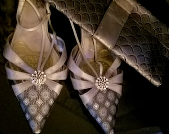 """Vintage A. Marinelli """"Special Collection"""" Silver & Rhinestone Mules"""