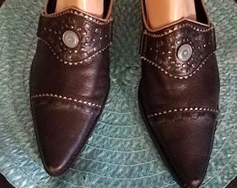 Vintage Chunky Heel Leather Slip-On Boots /Mules