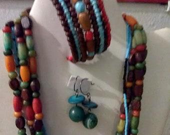 Beaded Choker, Cuff Bracelet & Earrings