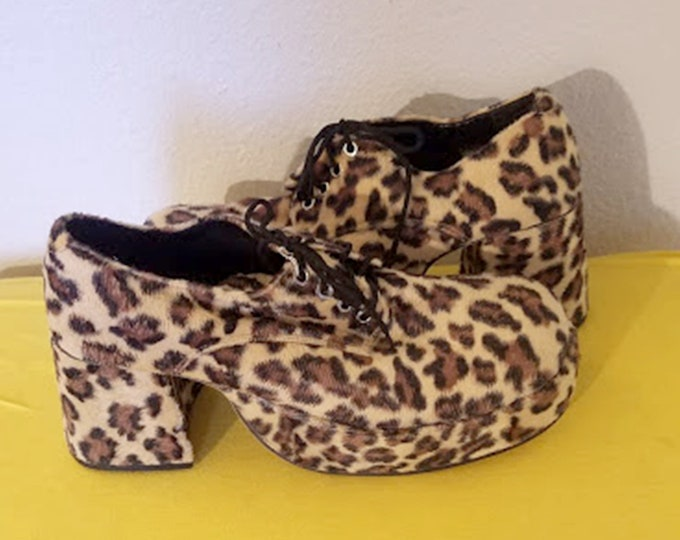 Mens Vintage Leopard Platforms for Boogie Nights