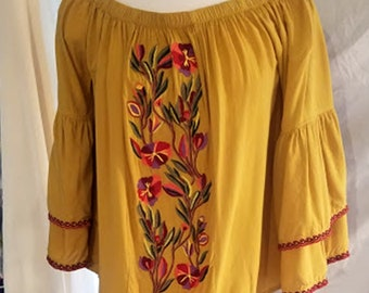 Vintage Embroidered Rayon Peasant Blouse