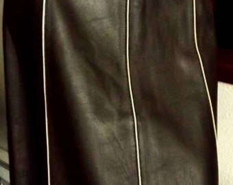 Italian Leather Pencil Skirt Chocolate Brown