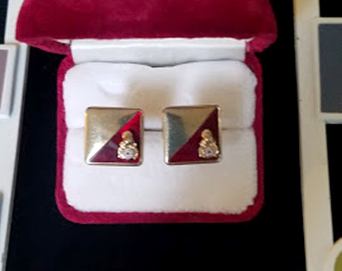 Vintage Elks BPOE Gold Glass Cuff-Links & Lapel Pin Set