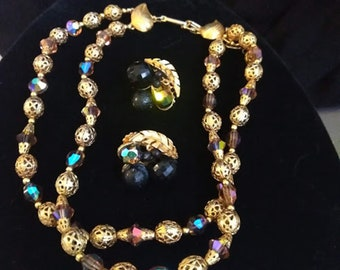 Vintage Gold & Crystal Double Strand Choker and Earrings Set