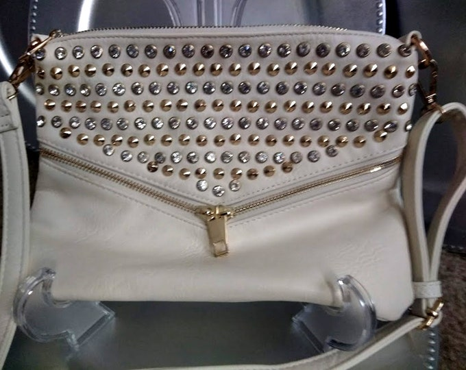 Vintage 90's Rhinestone Studded White and Gold Purse