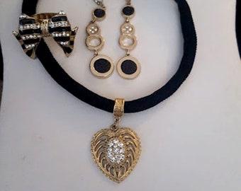 Vintage Black Velvet Rhinestone Heart 4 Piece Set