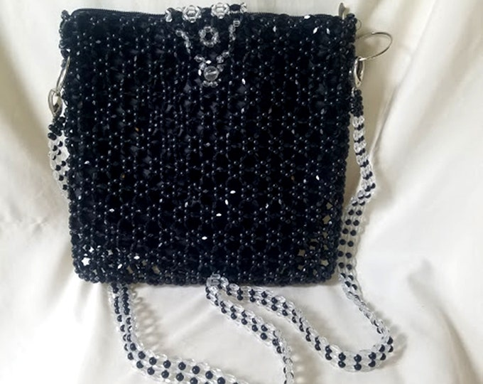 Vintage 70's Mod Plastic Beaded Cross-Body Purse
