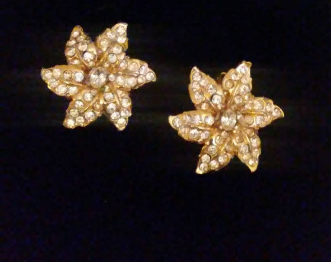 Vintage Todd Anthony Rhinestone Flower Earrings