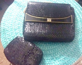Vintage 80's Black Mesh Bag With Mini Match