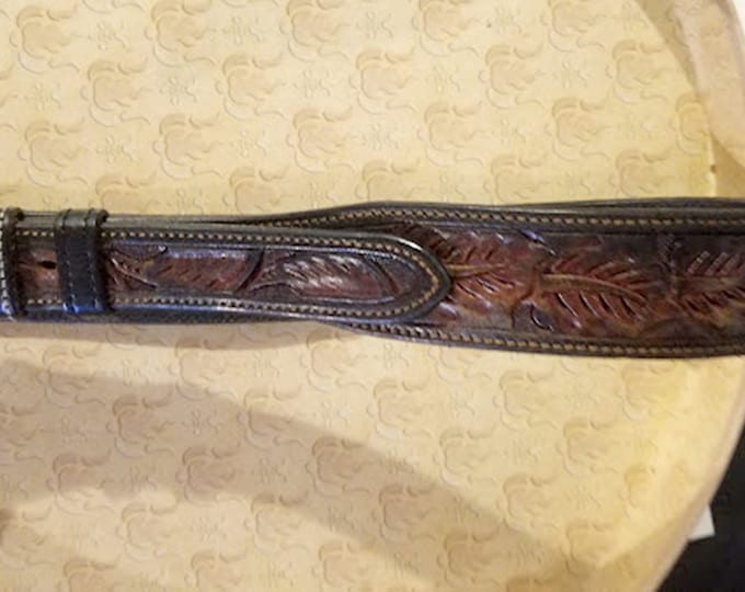 Vintage VOGT Old Mexico Intricate Hand-Tooled Grain Leather Belt