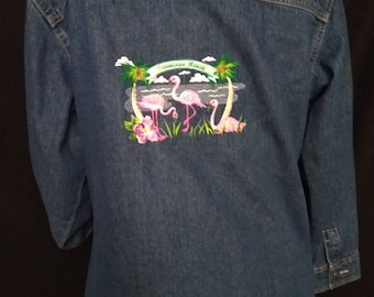 Tropical Embroidered Cotton Denim Jacket