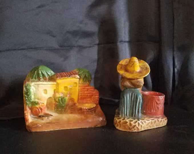 Rare Pair of Signed Vintage 40's Mexican Art Chalkware Candle Holder, Bookends