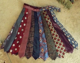 Unique Heirloom Handmade Tie Skirt & Matching Bag