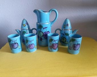 Unique Vintage Hand-painted Porcelain 9 Piece Tea Set Japan