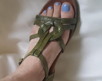 Rugged & Stylish Green Leather Sandals