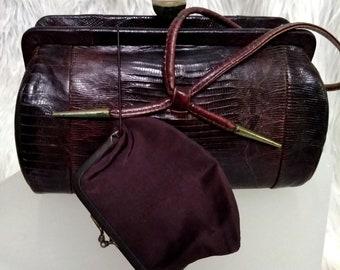 Vintage 40's Lizard Handbag & Coin Purse