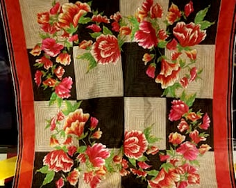 Vintage 50's Hand-Rolled Silk Scarf from Japan