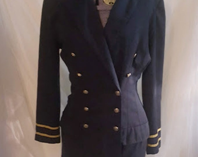 Vintage Navy & Gold Military/Sailor Style Blazer