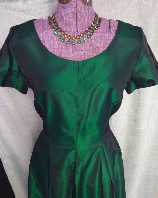 64a6a9de527e8 Vintage 90's Emerald Green Taffeta Gown. gallery photo ...