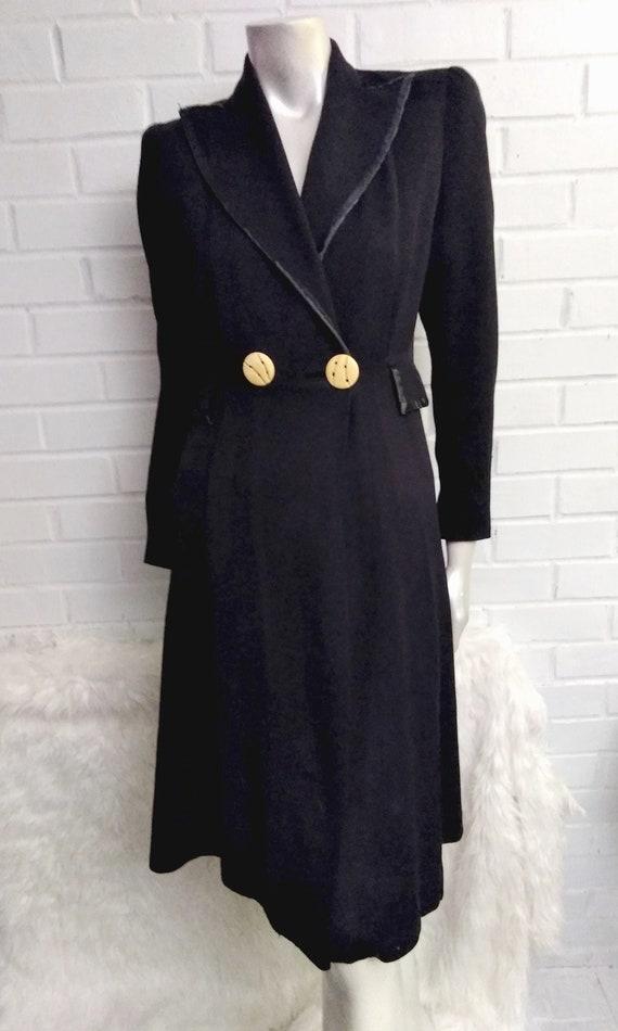 Vintage 1940's Tailored Wool Dress Coat-Dark Blue