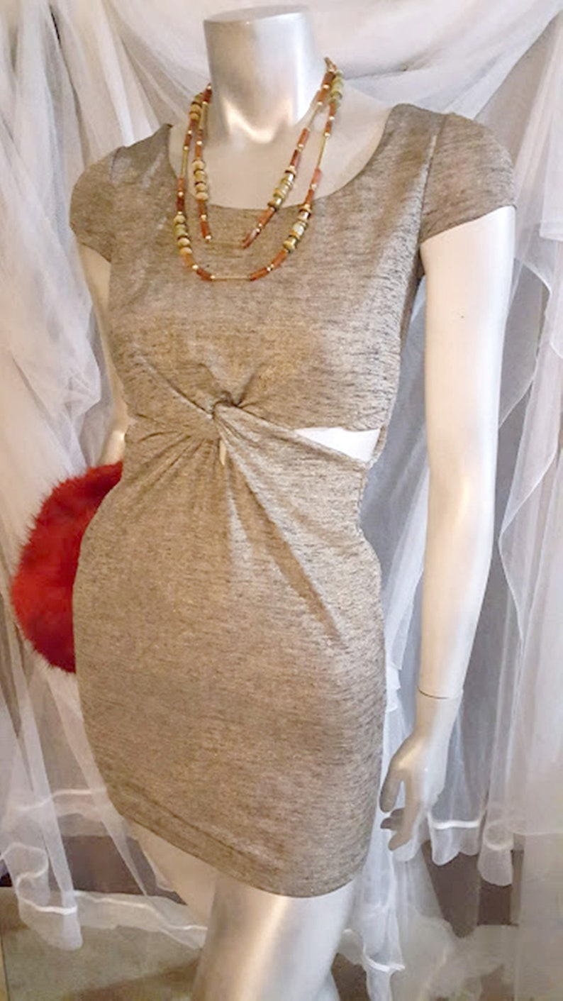 Vintage Charlotte Russo Metallic Knit Cut-Out Mini Dress