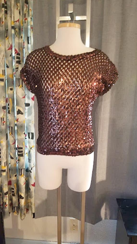 Vintage Bronze Sexy Sequin Party Top