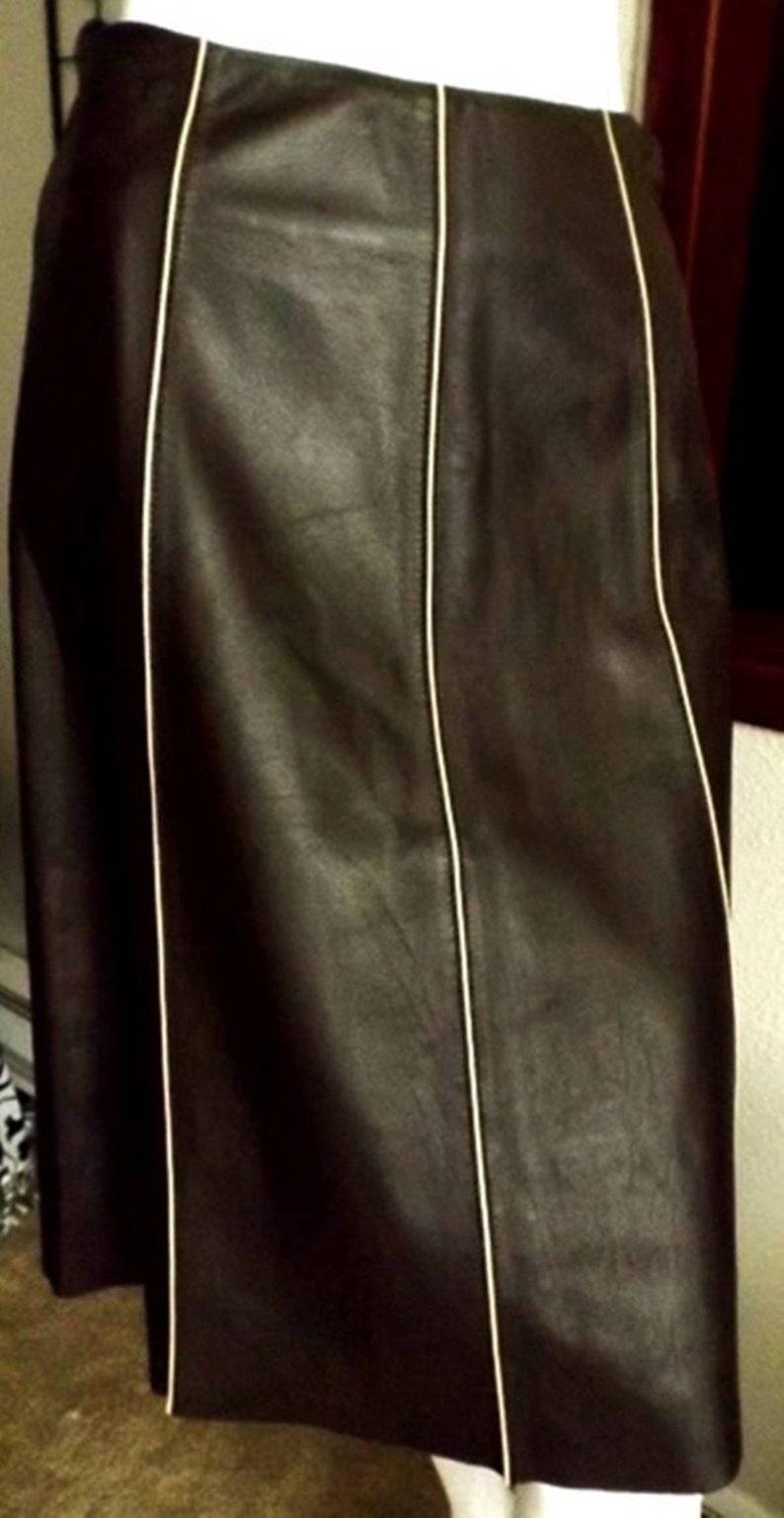 Italian Leather Pencil Skirt Chocolate Brown