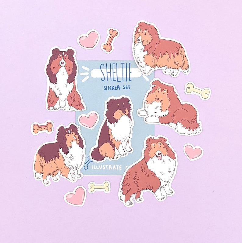 Dog Stickers Shetland Sheepdog Stickers Sheltie Sticker Set