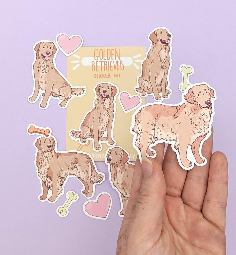 Golden Retriever Stickers Cute Retriever Sticker Pack Cute Stickers Dog Sticker Set