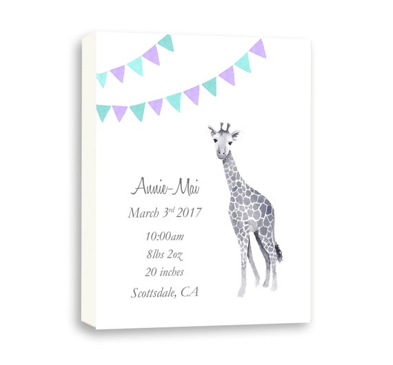 Personalized Baby Birth Stat on Gallery Wrapped Canvas , Baby Girl Gift Idea, Custom, G1001C