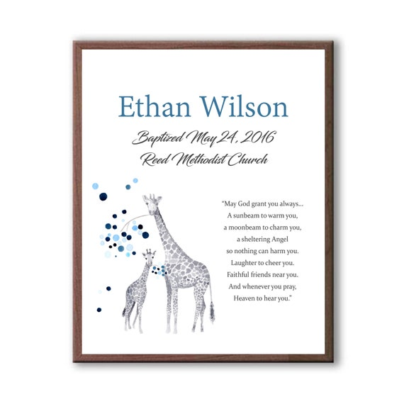 Art For Christening, Gift From Godparents, Godson Art Gift, Giraffe Art For Kids, Dedication Ceremony