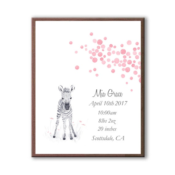 Personalized Baby Girl Birth Stats Watercolor Baby Zebra Print, Newborn Baby Girl Print From Godparents, Z1004