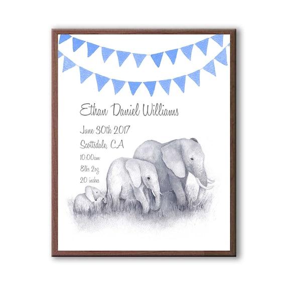 Custom Baby Stats, Royal Blue, Watercolor Elephant Family, Baby Boy Gift, Godparent Gift, E1005