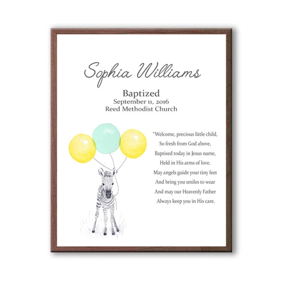 Personalized Baptism Gift For Girl With Baby Zebra & Balloons