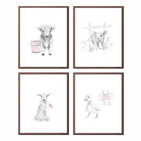 Animal nursery Art, Set of 4 prints, Farmyard Animals, Cow, Pig, Lamb, Duck, Rose and Gray