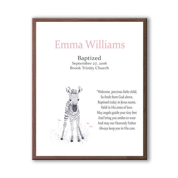 Dedication Art Gift, Gift For Goddaughter, Gift For Godchild, Zebra Art, Art For Kids