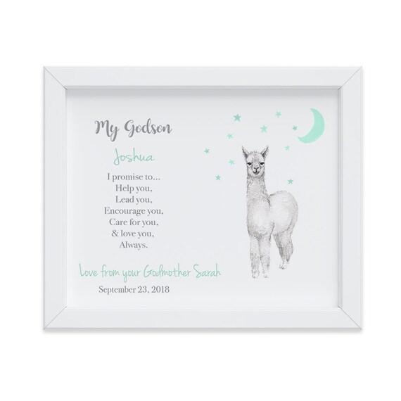 Godson Gift, Customized Baptism Gift from Godparents, Gift from Godparents, Christening Gift, Gift for Godson, Llama watercolor print
