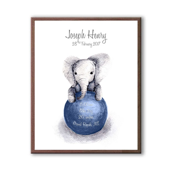 Personalized Baby Gift, Baby Boy Gift, Navy, Watercolor Baby Print, Baby Birth Stats, Baby Shower, EB1004
