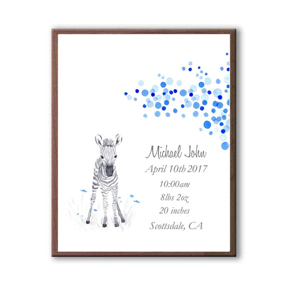 Personalized Baby Boy Birth Stats In Multi Blues, Baby Zebra Watercolor Art Print For Baby Boy, Any Color Art Print, Z1005