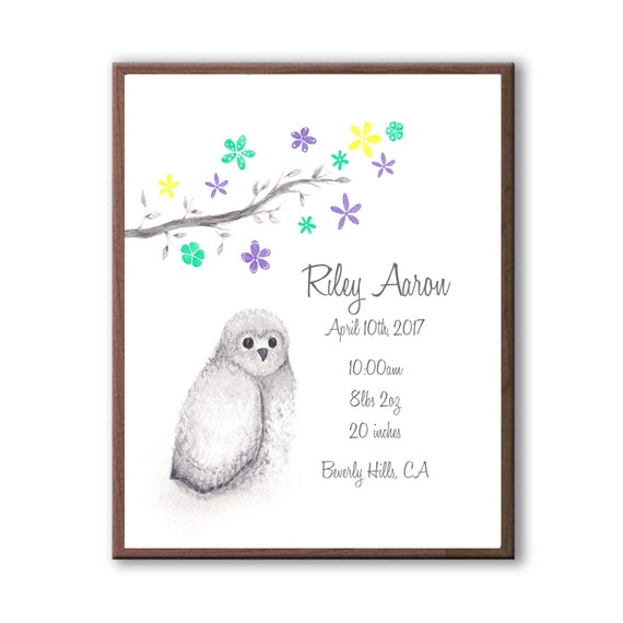 Custom Birth Stat Watercolor Owl Print in Marine, Violet and Buttercup, Baby Boy Birth Gift, O1003