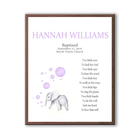 Personalized Christening Gift, Naming Day Gift For Girl, Baby Elephant Baptism