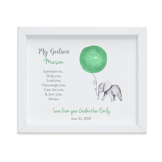 Personalized Baptism Print for Godson, Cute Elephant Gift Ideas for Baptism, Christening Gift, Gift from Godmother